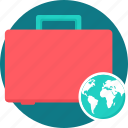 bag, box, briefcase, ecommerce, globe, package, suitcase icon