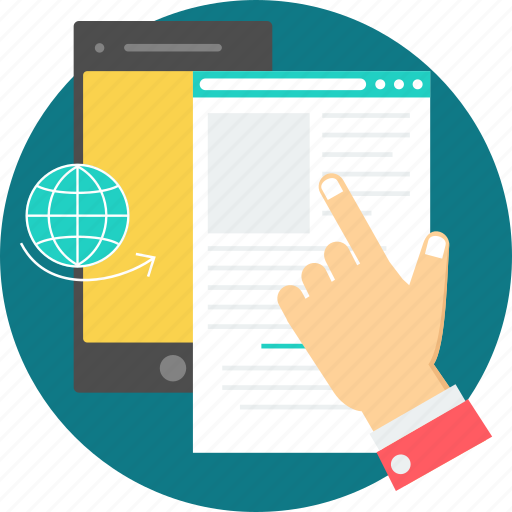 document, edocument, finger, mobile, mobile ready, mobile site, point icon