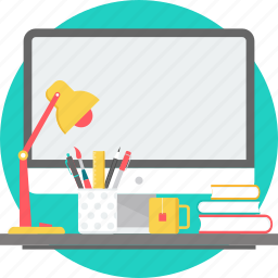 desk, lamp, office, stationary, study, table, work icon