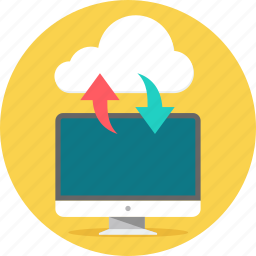 cloud, computing, download, network, transfer, upload, web icon