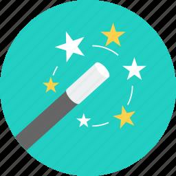 art, creative, design, magic, magic wand, star, stick icon