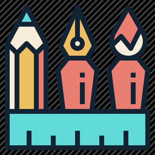 brush, draw, pen, pencil, ruler, sketching icon