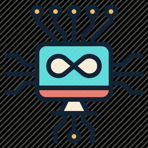 circuit, computer, electronic, infinity, technology icon