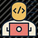 code, developer, laptop, programmer, thinking, web icon