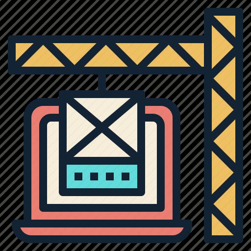 builder, content, crane, laptop, website icon