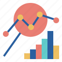 analysis, bar, chart, data, glass, line, magnifying icon