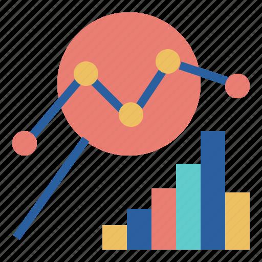 analysis, bar, chart, data, glass, line, magnifying icon