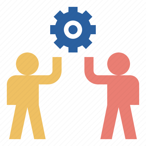 cooperation, development, gear, team icon