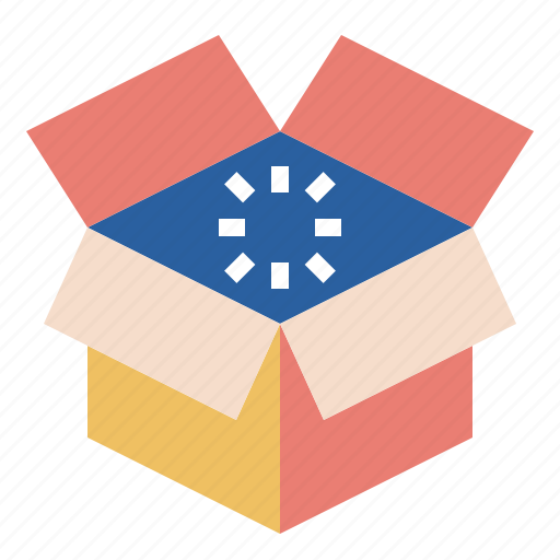 box, carton, container, empty, open, package, paperboard icon