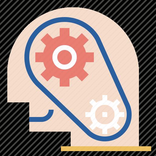gear, head, man, professional, robotic icon