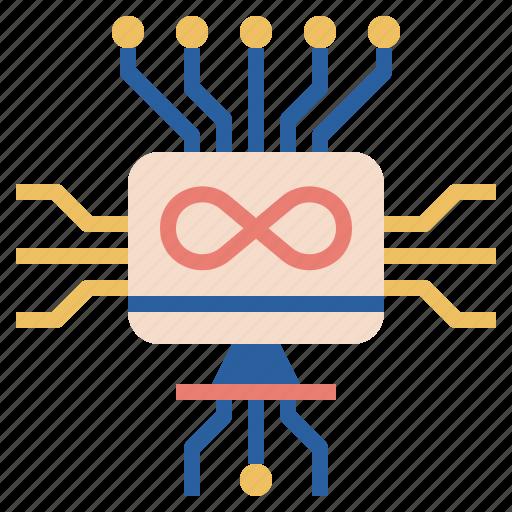 circuit, computer, electronic, iiot, infinity, iot, technology icon
