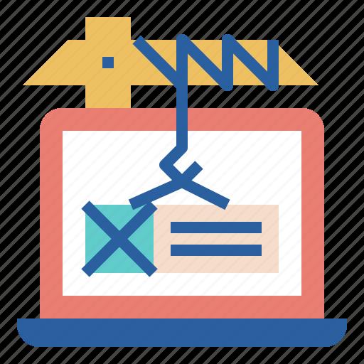 content, crane, laptop, lift, maintenance, web icon
