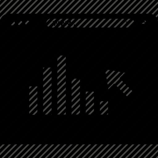 arrow, click, data, seo icon