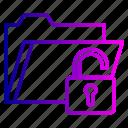 folder, password, protect, secure, tools, unlock, web icon