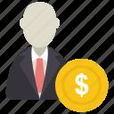 avatar, dollar, man, rich, user icon icon