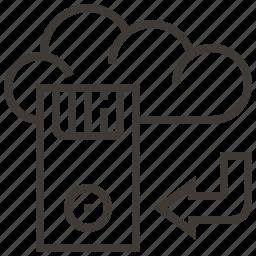 arrow, cloud, device, technology, web, web hosting icon