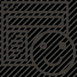 emoji, happy, technology, web, web hosting icon