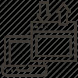 arrows, device, technology, web, web hosting icon