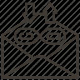 arrows, envelope, technology, web, web hosting icon