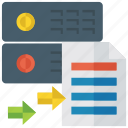 backup data, data implementation, data sharing, data transfer, info sharing, online data icon