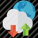 cloud data, cloud download, cloud storage, cloud technology, cloud upload icon