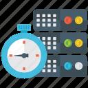 big data, database, database with stopwatch, datacenter, timer database icon