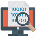 binary digits, data analysis, data explorer, data monitoring, web explorer icon