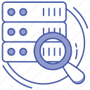 database search, database search engine, database with magnifier, information search, server monitoring icon