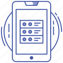 mobile database, mobile hosting server, mobile network server, mobile server, online database icon