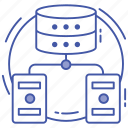 data center, data hosting, data server network, data storage, database network icon