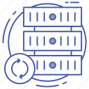 data center, data hosting, data refresh, data server, database recycling, server renew icon