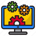 computer, display, gear, monitor, screen