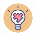 idea, light bulb, puzzle, solution icon