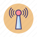 receiver, signal, tower, wireless icon