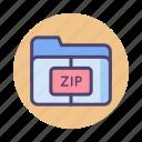 compressed, compression, file, folder, zip, zip file, zip folder icon