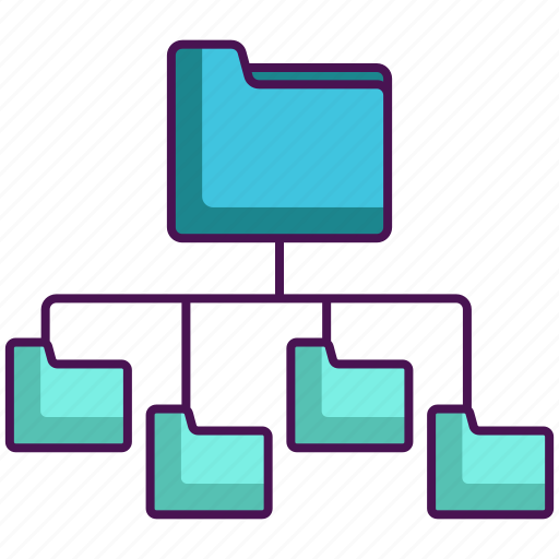 folders, folders structure network, network, structure icon