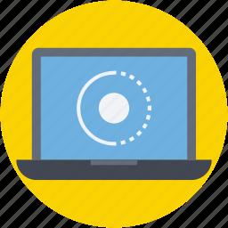 file loading, initializing, laptop, loading, processing icon