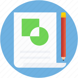 chart sheet, graph chart, graph report, graph sheet, pencil icon