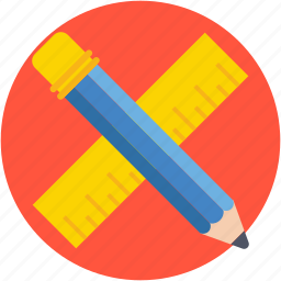 geometry, pencil, ruler, scale, stationery icon