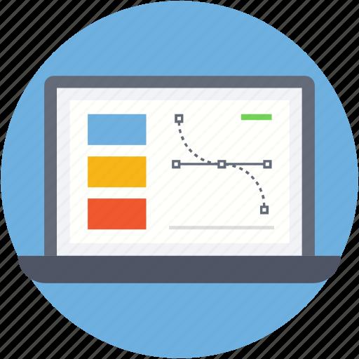 bezier, design, designing, laptop, pen tool icon