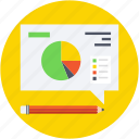 analytics, designing, drawing, pencil, pie graph icon