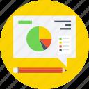 analytics, designing, drawing, pencil, pie graph icon
