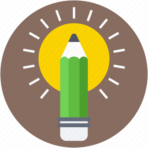 brightness, idea, light, luminaire, pencil icon
