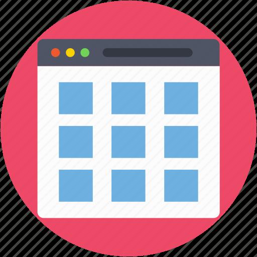 web content, web layout, webgrid, webpage, wireframe icon