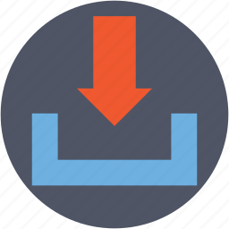 down arrow, download button, download tray, downloading, save file icon