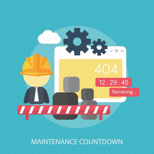 countdown, error, maintenance, remaining, repair, setting, update icon