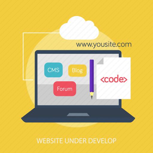 cloud, code, laptop, maintenance, online, under develop, website icon