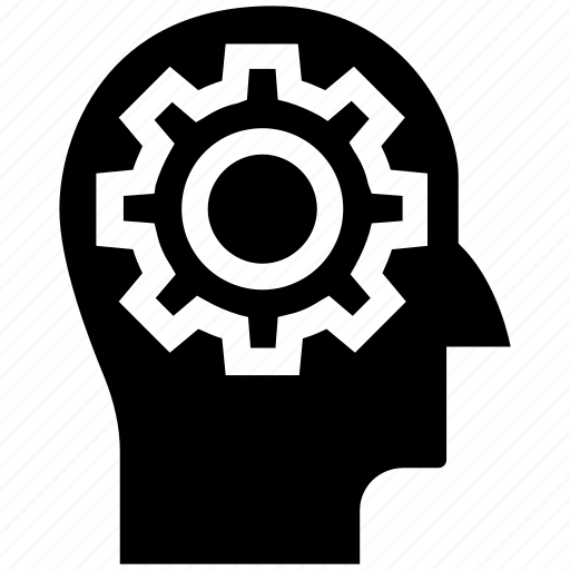 brainstorming, cogwheel, gear, head, idea, marketing, strategy icon