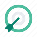 arrow, bullseye, content, digital, marketing, target icon