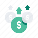content, digital, finance, marketing, money, raise, strategy icon